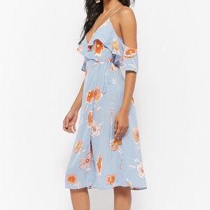 NWT Light Blue Open-Shoulder Floral Wrap Dress M